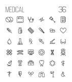 Sistema de iconos médicos en línea fina moderna ilustración del vector