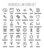 Sistema de iconos médicos en línea fina moderna stock de ilustración
