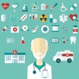 Sistema de iconos médicos planos Imagen de archivo libre de regalías