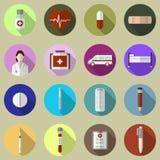 Sistema de iconos médicos planos Fotos de archivo libres de regalías