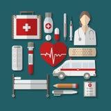 Sistema de iconos médicos planos Fotografía de archivo libre de regalías