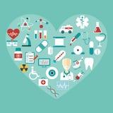 Sistema de iconos médicos planos del vector Foto de archivo libre de regalías