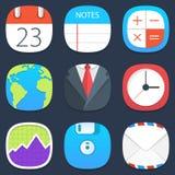 Sistema de iconos móviles de la oficina en diseño plano Imágenes de archivo libres de regalías