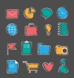 Sistema de iconos a mano planos de la oficina de negocios aislados en gris ilustración del vector