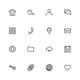 Sistema de 16 iconos materiales negros del web del esquema del diseño Imagenes de archivo