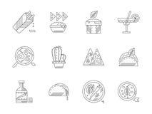 Sistema de iconos mexicanos lineares de la comida Imagenes de archivo