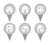 Sistema de iconos modernos del perno del mapa de la casa Fotos de archivo