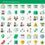 Sistema de 49 iconos modernos del vector de la gestión del proyecto Foto de archivo