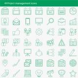 Sistema de 49 iconos modernos del vector de la gestión del proyecto Fotografía de archivo