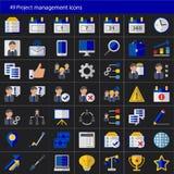 Sistema de 49 iconos modernos del vector de la gestión del proyecto Fotos de archivo