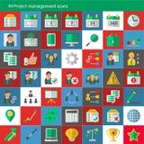 Sistema de 49 iconos modernos del vector de la gestión del proyecto Imagenes de archivo