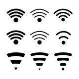 Sistema de iconos modernos de la conexión inalámbrica Foto de archivo libre de regalías