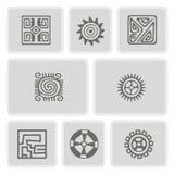 Sistema de iconos monocromáticos con arte americano de los indios y ornamentos étnicos Fotografía de archivo