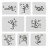 Sistema de iconos monocromáticos con el carácter americano de los zopencos de las reliquias de los indios (parte 5) libre illustration