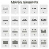Sistema de iconos monocromáticos con glyphs mayas de los números ilustración del vector