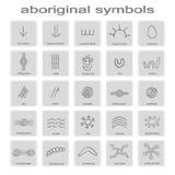 Sistema de iconos monocromáticos con símbolos del arte aborigen australiano ilustración del vector