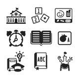 Sistema de iconos monocromáticos de la educación del vector en estilo plano stock de ilustración