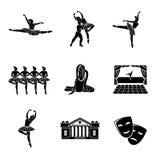 Sistema de iconos monocromáticos del ballet con - ballet Imagen de archivo