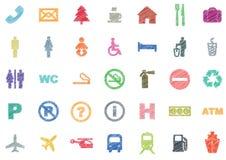 Sistema de iconos multicolores del vector del bosquejo Foto de archivo