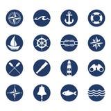 Sistema de iconos náuticos de la navegación del océano del mar Fotografía de archivo