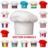 Sistema de iconos nacionales de la cocina Símbolos del vector Fotografía de archivo libre de regalías