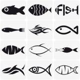 Sistema de iconos negros creativos de los pescados en blanco Imagenes de archivo