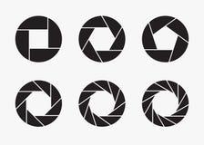 Sistema de iconos negros de la abertura de lente de cámara ilustración del vector