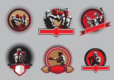 Sistema de iconos o de emblemas del boxeo Imagen de archivo
