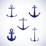 Sistema de iconos o de símbolos del ancla del vector Fotografía de archivo