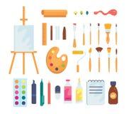 Sistema de iconos de pintura coloreados del vector de las herramientas en estilo de la historieta Fuentes, cepillos del arte y ca ilustración del vector
