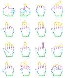 Sistema de iconos pixelated inusuales de la mano Fotografía de archivo libre de regalías
