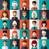 Sistema de iconos planos con la gente ilustración del vector