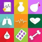 Sistema de iconos planos con la sombra y la medicina del diseño moderno Imagenes de archivo