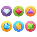 Sistema de iconos planos con las joyas preciosas Imagen de archivo libre de regalías