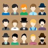 Sistema de iconos planos con los caracteres del hombre Fotos de archivo libres de regalías