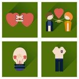 Sistema de iconos planos con los iconos largos del amor de la sombra Fotografía de archivo libre de regalías