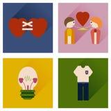 Sistema de iconos planos con los iconos largos del amor de la sombra Fotos de archivo