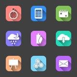Sistema de iconos planos con una sombra en fondos multicolores libre illustration