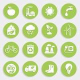 Sistema de iconos planos de la ecología verde Fotografía de archivo libre de regalías