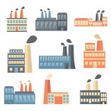 Sistema de iconos planos de la fábrica Fotos de archivo libres de regalías