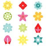 Sistema de iconos planos de la flor del icono en silueta Imagenes de archivo