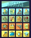 Sistema de iconos planos de la ley y de la justicia con el abogado Imagen de archivo