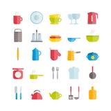 Sistema de iconos planos de la loza del vector Iconos modernos de los utensilios de la cocina Foto de archivo libre de regalías