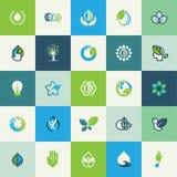 Sistema de iconos planos de la naturaleza del diseño Foto de archivo libre de regalías