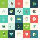 Sistema de iconos planos de la naturaleza y de la belleza del diseño Imágenes de archivo libres de regalías