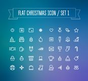 Sistema de iconos planos de la Navidad ilustración del vector