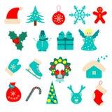 Sistema de iconos planos de la Navidad Imagen de archivo