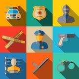 Sistema de iconos planos de la policía - arma, coche, escena del crimen ilustración del vector