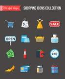 Sistema de iconos planos de las compras Ilustración del vector Fotos de archivo