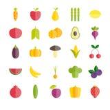 Sistema de iconos planos de las frutas y verduras Fotos de archivo libres de regalías